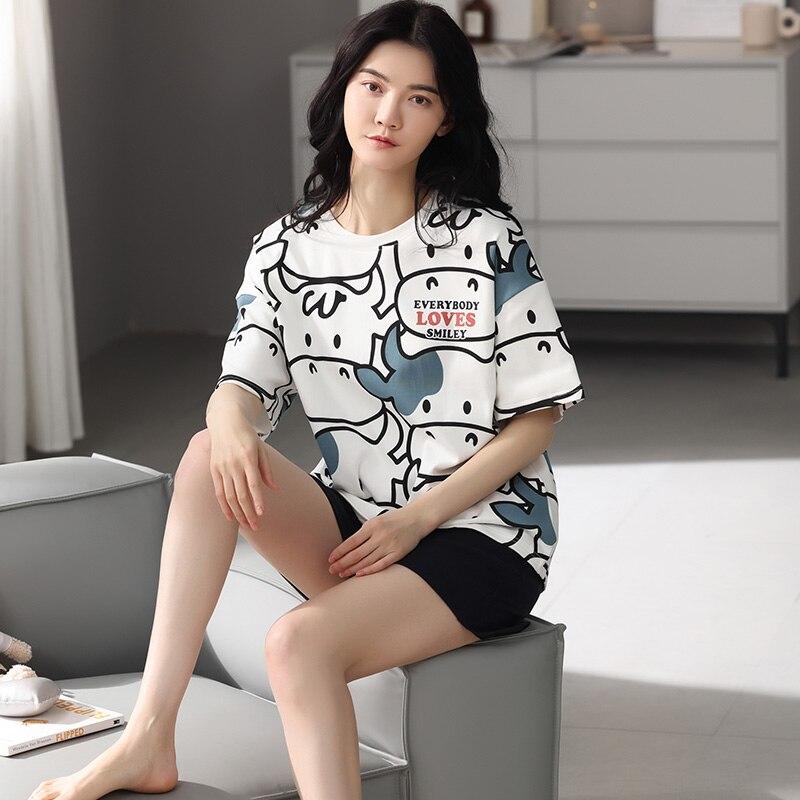Мультфильм-Корова-пижамы-для-женщин-в-Корейском-стиле-Сезон-лето-Стиль-натуральный-хлопок-футболка-с-короткими-рукавами-и-шорты-Тонкий-ко