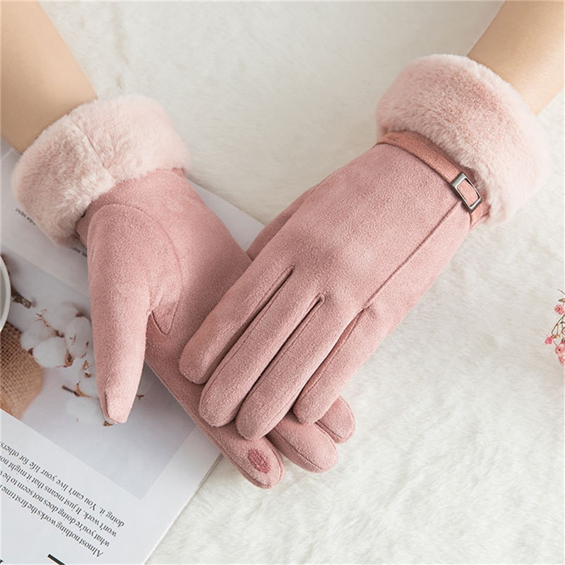 Winter Women Gloves Suede Velvet Keep Warm Touch Screen Gloves Full Finger Windproof Mittens Wool Mi