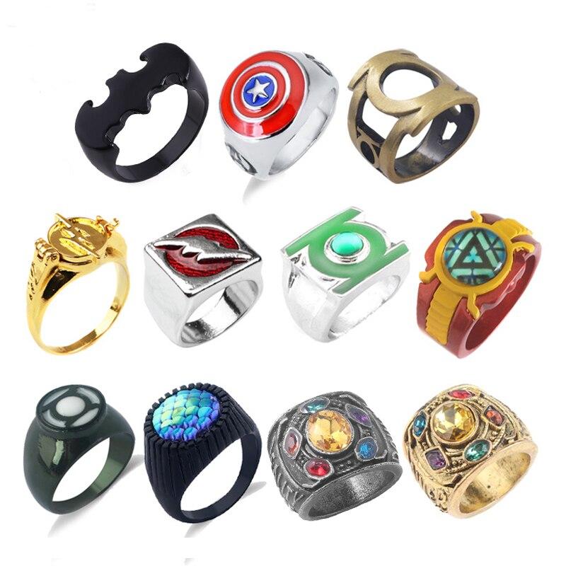 Мстители зеленые Кольца фонаря для мужчин Высокое качество супер вспышка Бэтмен Железный человек танос кольцо цвета античной бронзы ювелирные изделия Кольца