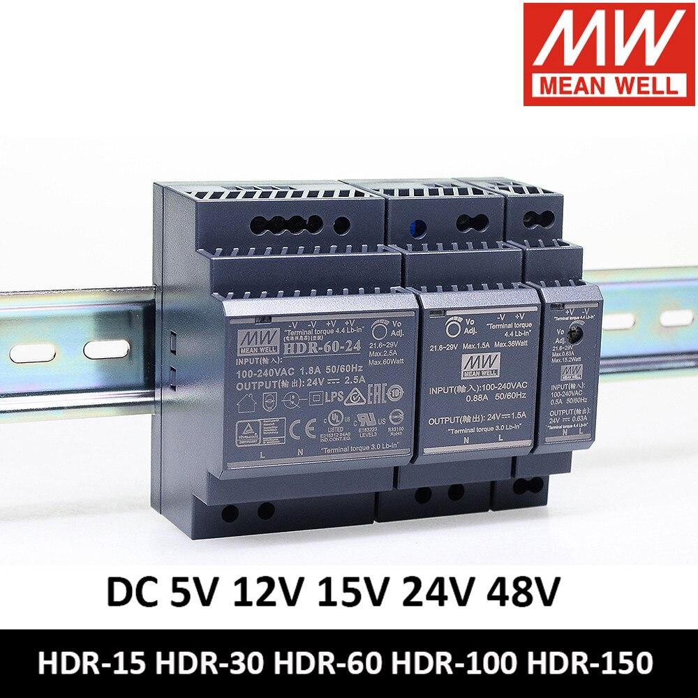 MEAN WELL DIN Rail power supply12v 24v 5V 15V 24V 48V HDR-15 HDR-30 HDR-60 HDR-100 HDR-150 Meanwell Slim LED Driver HDR-150-24