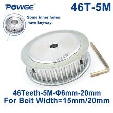 POWGE poulie de synchronisation synchrone   Dents 46 HTD 5M alésage 8/10/12/14/15/16/17/19/20/22/25mm pour largeur 15/20mm HTD5M dents 46 T