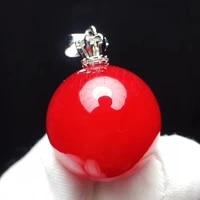 genuine natural red rutilated quartz round pendant 21mm sphere ball gemstone brazil waelthy women men jewelry aaaaaa