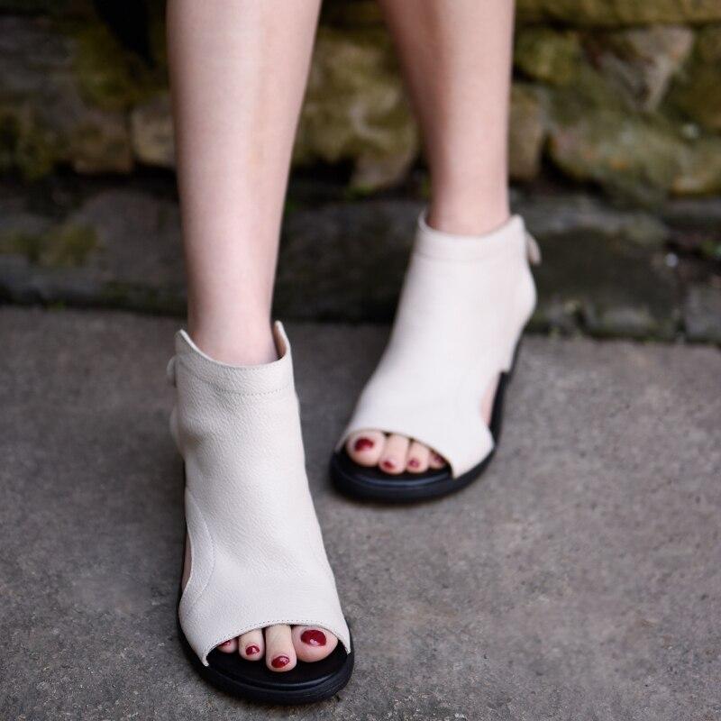 Sandalias originales Artmu de piel auténtica, cómodas sandalias romanas de fondo suave, zapatos de tacón Semi-alto hechos a mano