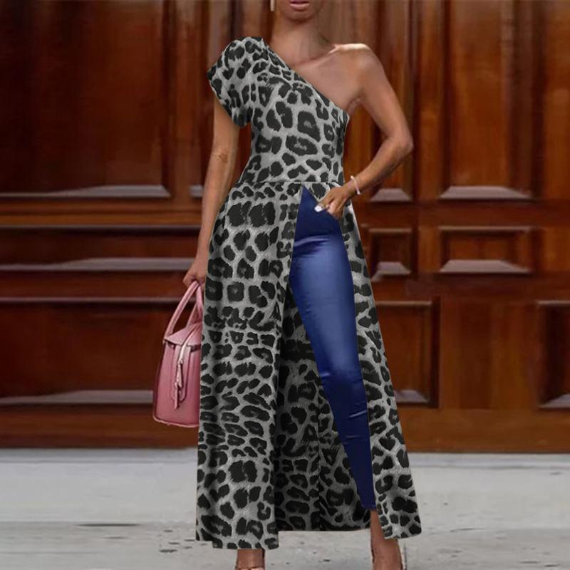 VONDA 2020 Tops sin hombros mujer leopardo Vintage impreso blusa fiesta Irregular Tops señora largo de oficina camisas de talla grande