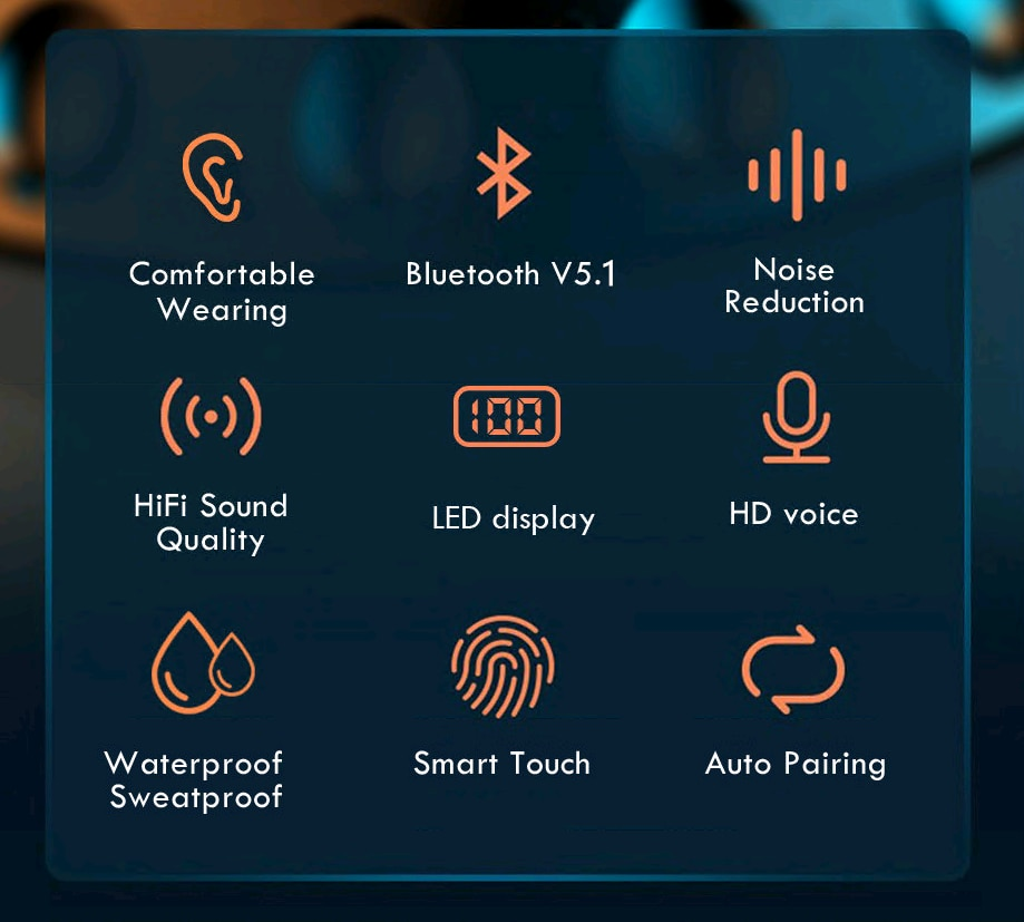 TWS Bluetooth Earphone Headphone Led Sports Wireless Headphones Hifi Earbuds 9D Stereo Noise Canceling Headset with Microphone enlarge
