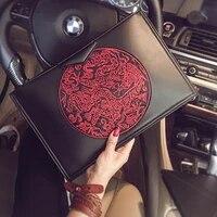 chinese style dragon embroidery ipad bags for women vintage envelope bag women handbag designer unisex square clutch bag purse