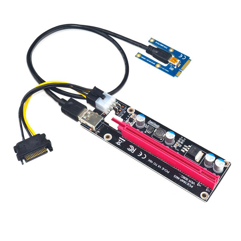 Mini PCIe a PCI express 16X elevador para ordenador portátil tarjeta gráfica externa EXP GDC BTC Antminer Miner mPCIe a PCI-e ranura de tarjeta