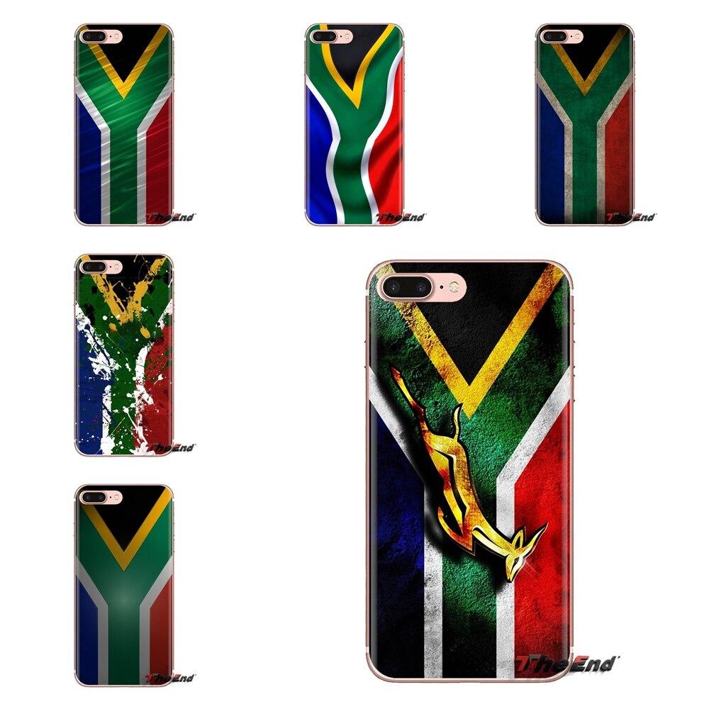 TPU funda para Samsung Galaxy S2 S3 S4 S5 MINI S6 S7 borde S8 S9 Plus nota 2 3 4 5 8 Coque Fundas Sudáfrica Bandera Nacional
