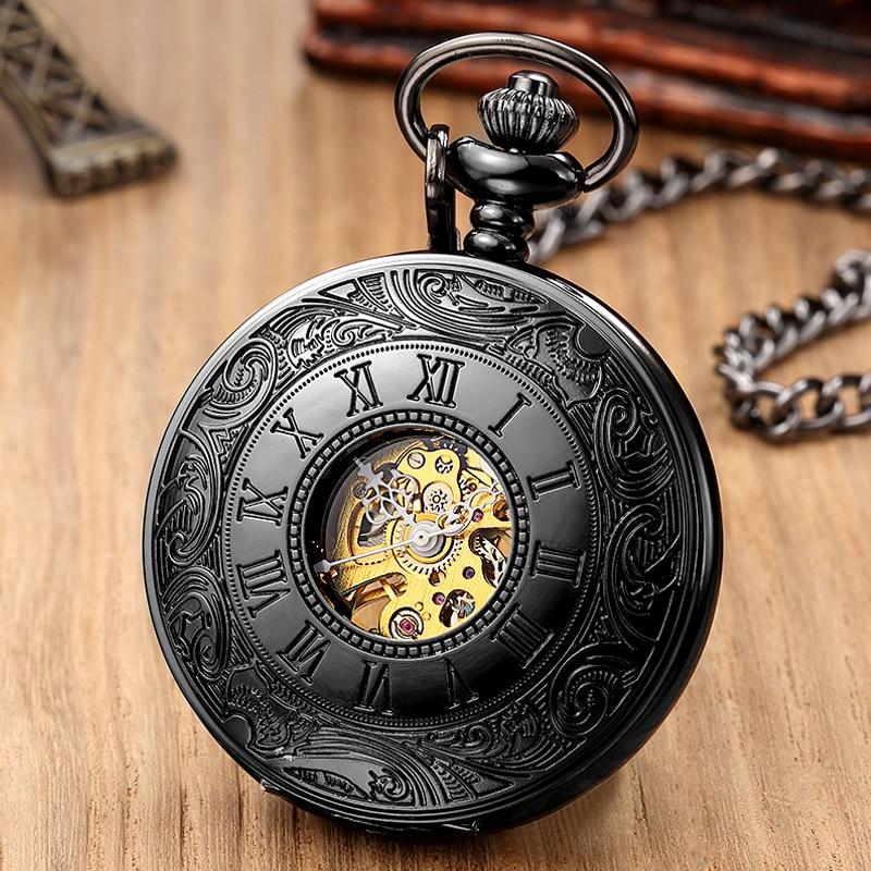 Retro Hand Wind Mechanical Pocket Watch Fob Chain Locket Dial Hollow Steampunk Skeleton Men Women Mens Clock Watches Box