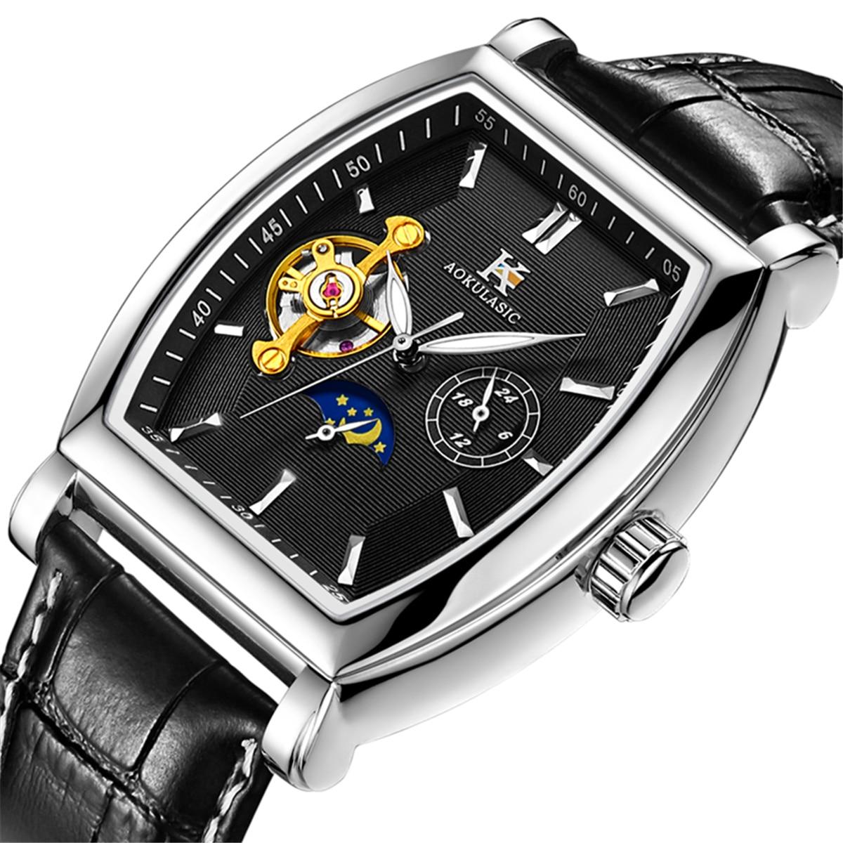 Reloj mecánico automático y transparente aokelasic para hombre, esqueleto Steampunk, de lujo, de cuerda automática, reloj de cuero para hombre, montre homme