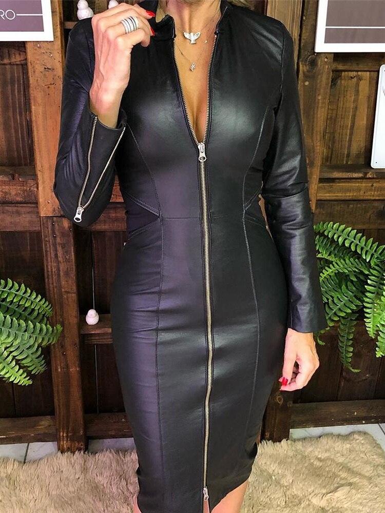 Vestido Midi ajustado elegante para mujer, vestido de fiesta de otoño 2020, vestido de cóctel sexi para mujer, vestido ajustado de PU con diseño de cremallera