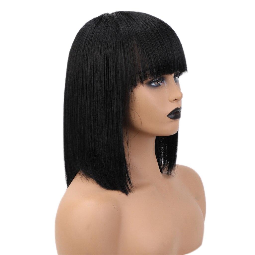 Women Short Length Straight Wig 14'' Real Human Hair Black Natural Look Wig