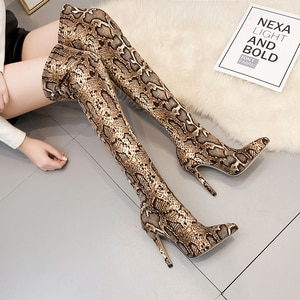 Spring 35-42 Sexy Snake Pattern Stretch Fabric Sleeve Boots Pointy Toe Over The Knee Stiletto High Heels Pointed Toe Woman Boot