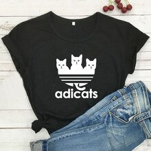 Cartoon Cat T Shirt donna manica corta Kawaii Tshirt donna T-shirt Casual Graphic Tees donna nero Camiseta Mujer top