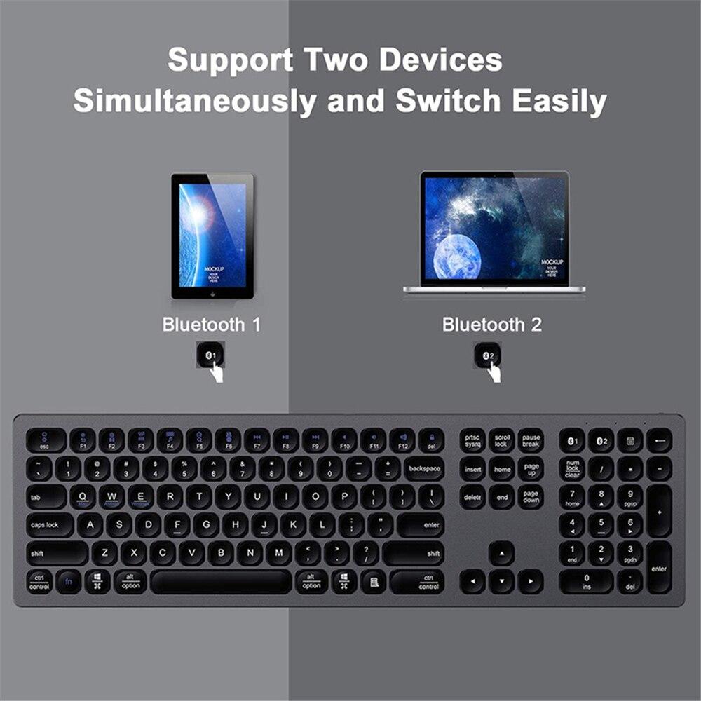 Bluetooth 3.0 Keyboard Multi-Device Rechargeable Bluetooth Keyboard Aluminum Wireless Type-C Rechargeable Keyboard Iron Gray