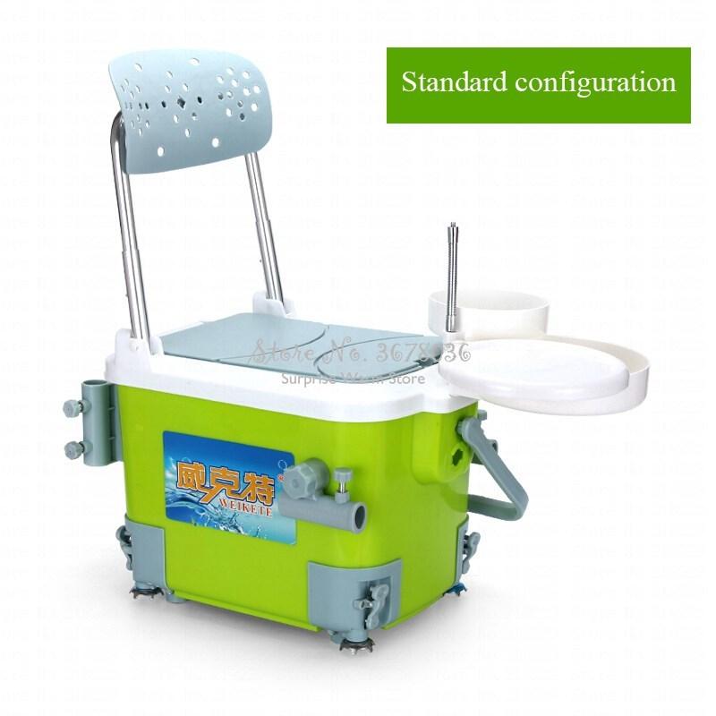 Caja de pesca ultraligera, nevera portátil, silla de pesca multifunción con respaldo plegable, soporte ajustable para caña de pescar y paraguas