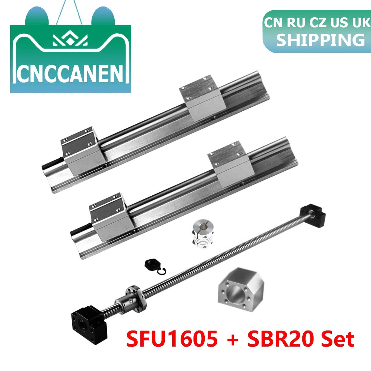 2PCS SBR20 Linear Rail Support+4pcs SBR20UU Block Bearing+SFU1605 Ball Screw End Machined+Nut Housing+BKBF12 Support+Coupler Set