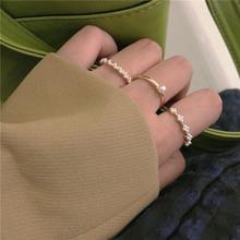 Pearl Ring 3 Pack ~ Three-Piece Set Ring Ins Elegant Korean Sweet Food Finger Ring All-Matching Simp