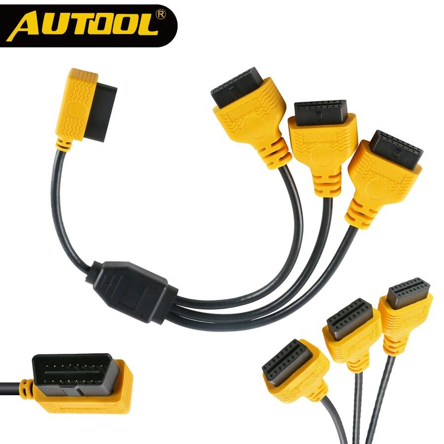 AUTOOL OBD2 сплит-кабель OBD 2 удлиняет Y кабели от 1 до 3 конвертер адаптер провода 50 см J1962M до 3-J1962F OBD2 удлинитель сплит-шнур