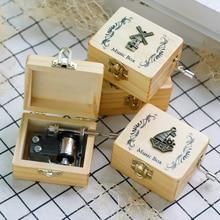 New carved wooden hand crank music box kid toys children new year happy Birthday Present Christmas G
