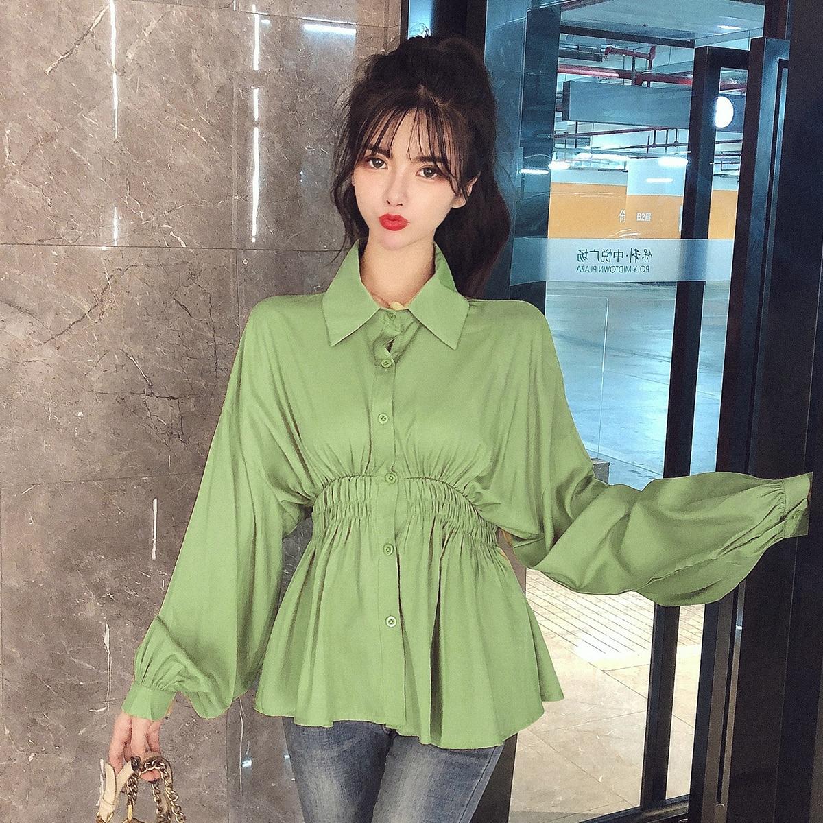 Otoño mujer peplum tops de manga larga de las mujeres ruffles camisas de moda ruffles tops mujer otoño peplum camisetas