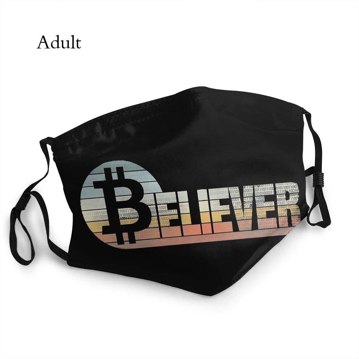 Believer Crypto Bitcoin Cryptocurrency Art Dust Proof Reusable Mascarillas Adult Mask Muffle