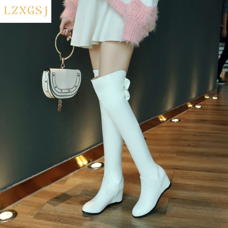 Fashion Sweet White Long Boots Women's Over The Knee Boot High Heels Height Tncreasing Women High Boots Spring Female Shoes