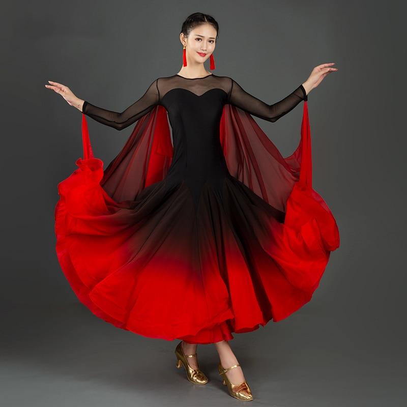 جديد مثير فستان رقص الحديثة الوطنية القياسية المرأة قاعة أثواب رقص الفالس الأحمر أزياء مسرحية