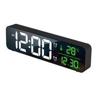 Mirror Alarm Clock LED Music Clock 2 Groups of Alarms Time Date Temperature Same Screen Display Wall Mount Despertador Led Clock