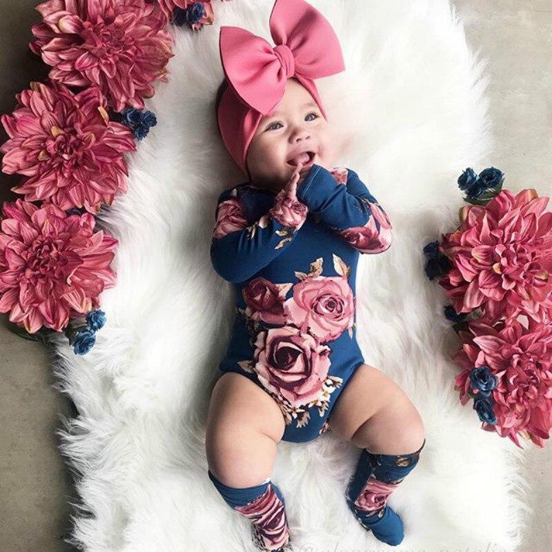 Pelele de 0 a 24 meses para recién nacidos, ropa de otoño para niñas, Pelele de flores y calentadores de piernas, atuendo para niñas