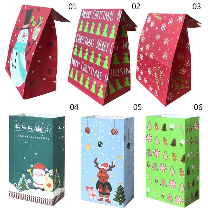 10pcs Open Top Stand Paper Bags Merry Christmas Tree Snowman Print Candy Bag For Holiday Gift Packag