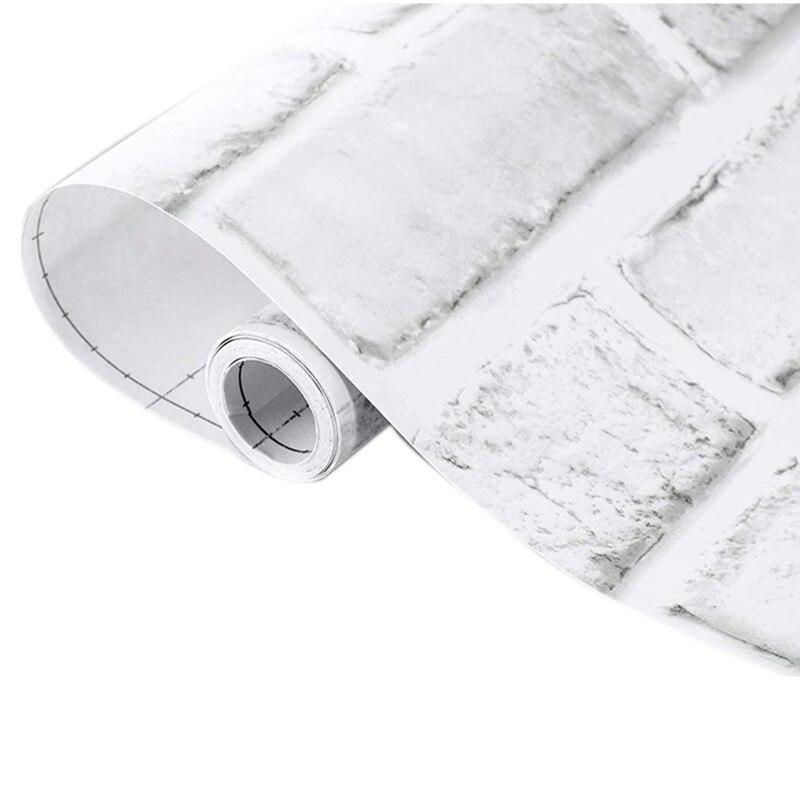 Белая кирпичная настенная бумага, Настенная бумага-кирпичная настенная бумага-3D клейкая настенная Бумага Из искусственной текстуры, съемн...