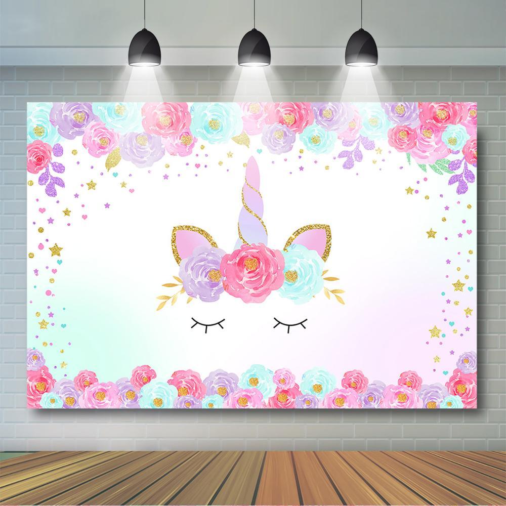 Unicorn Themed Birthday Backdrop Pink Flower Glitter Star Smile Unicorn Background Girls Baby Shower Birthday Party Decoration