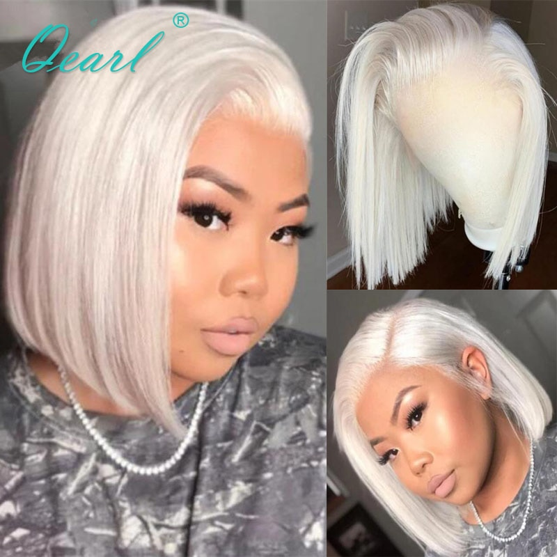 Women Human Hair Wig White Blonde Lace Front Wig 13x4/13x6 Bob Cut Lace Frontal Wigs Icy Straight Remy Hair Glueless 150% Qearl