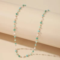 huatang boho green crystal beaded necklace for women handmade gold bead long chains collares female party jewelry on the neck