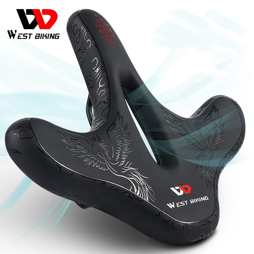 WEST BIKING Большое широкое амортизирующее седло для горного и дорожного велосипеда, подушка для велосипеда, дышащее Велосипедное Сиденье, аксессуары