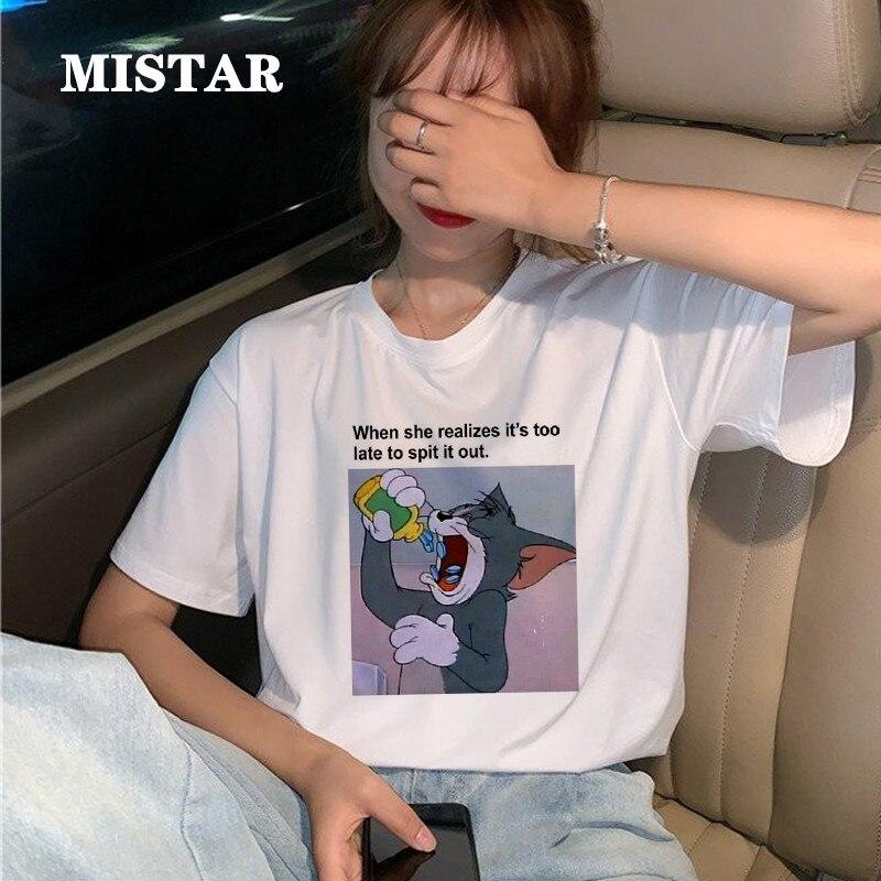 Divertida camiseta de gato y ratón para mujer, ropa estampada a la moda, camiseta informal de verano para mujer, bonita camiseta de dibujos animados, Camiseta blanco nuevo para mujer