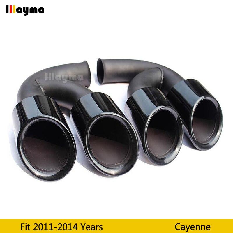 Черный глянец выхлопные наконечники Глушитель Трубы для Porsche Cayenne V6 V8 2011 2012 2013 2014 год Cayenne нержавеющая сталь глушители