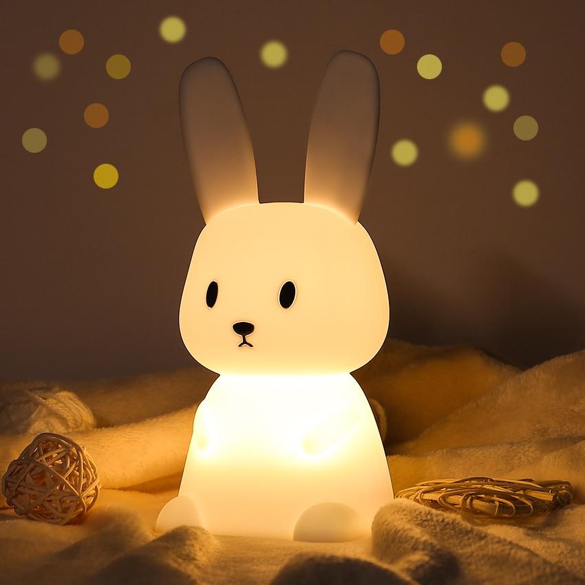 LED ضوء الليل لوز Nocturna Infantil Nachtlampje لرياض الأطفال مصباح غرفة النوم استشعار اللمس غرفة ديكور لطيف هدية للأطفال الكبار
