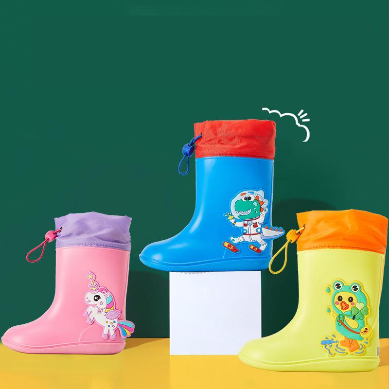 Rainboots Kids PVC Rubber Cartoon Baby Boys Rain Boots Waterproof Girls Rainboots Toddler Girl Rain