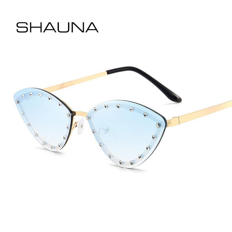 SHAUNA Fashion Women Crystal Sunglasses Small Cat Eye Rimless Shades UV400