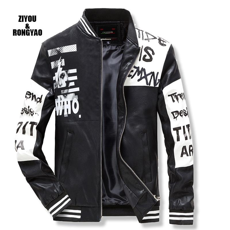 Мужская кожаная куртка на молнии, куртка из искусственной кожи, мужские кожаные куртки с надписью и вышивкой, мужские куртки высокого качес...