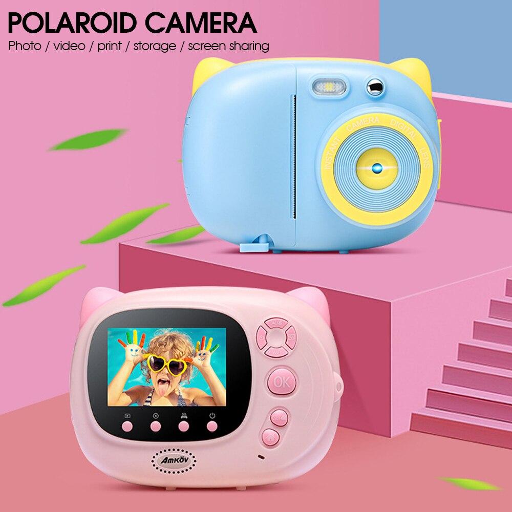 كاميرا صغيرة لطيف الأطفال طباعة الكاميرا المحمولة HD الرقمية فيديو التعليم لعبة كاميرا مع ورق الطابعة للطفل هدية عيد ميلاد