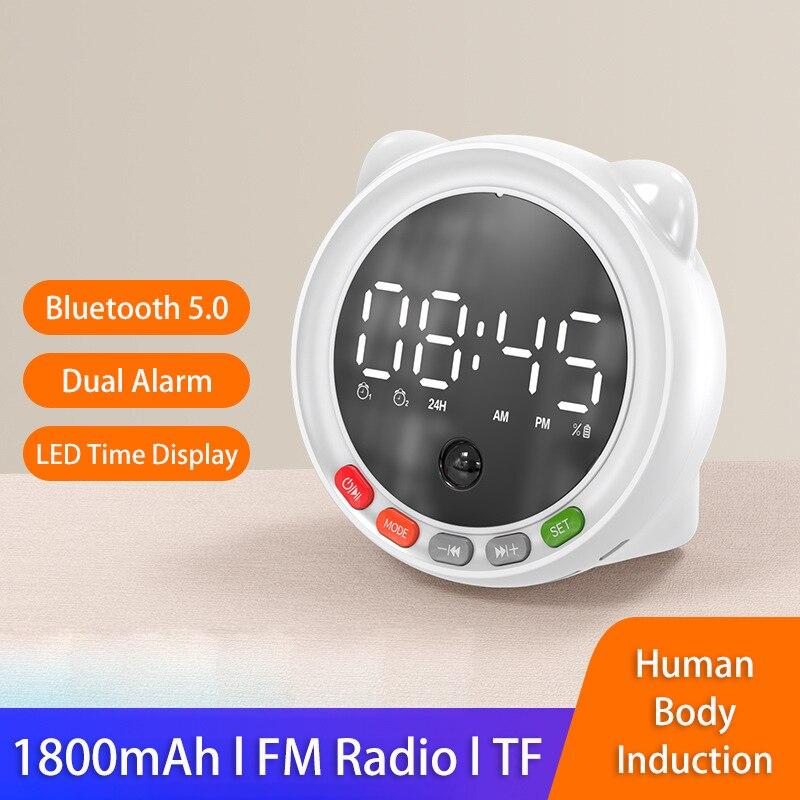 Minialtavoz Portátil con Bluetooth, con luz LED, Radio FM, despertador, reloj, Boombox...
