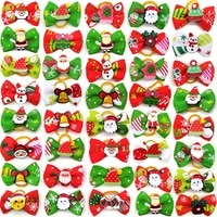 10 pcs christmas dog hair accessories pet dog hair bows holiday party dogs bows hair dog grooming bows for small dog products