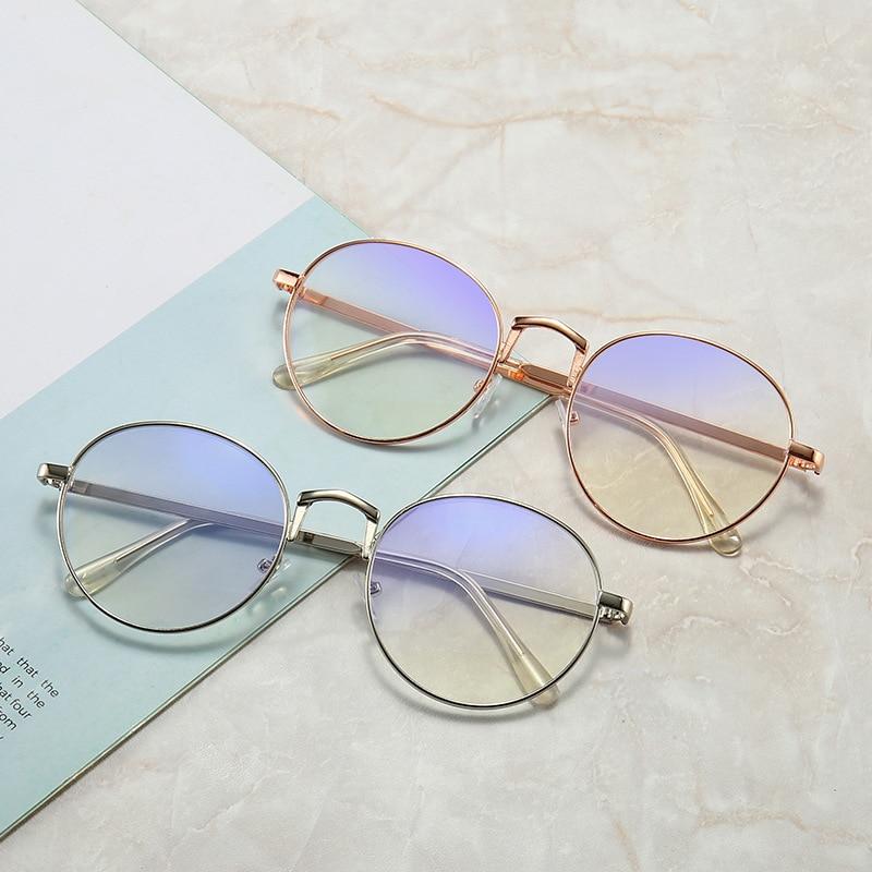Anti Blue light Small Round Glasses Frame Women/Men Myopia Optical Metal Eyeglasses Anti-blue Clear Eyewear Frames