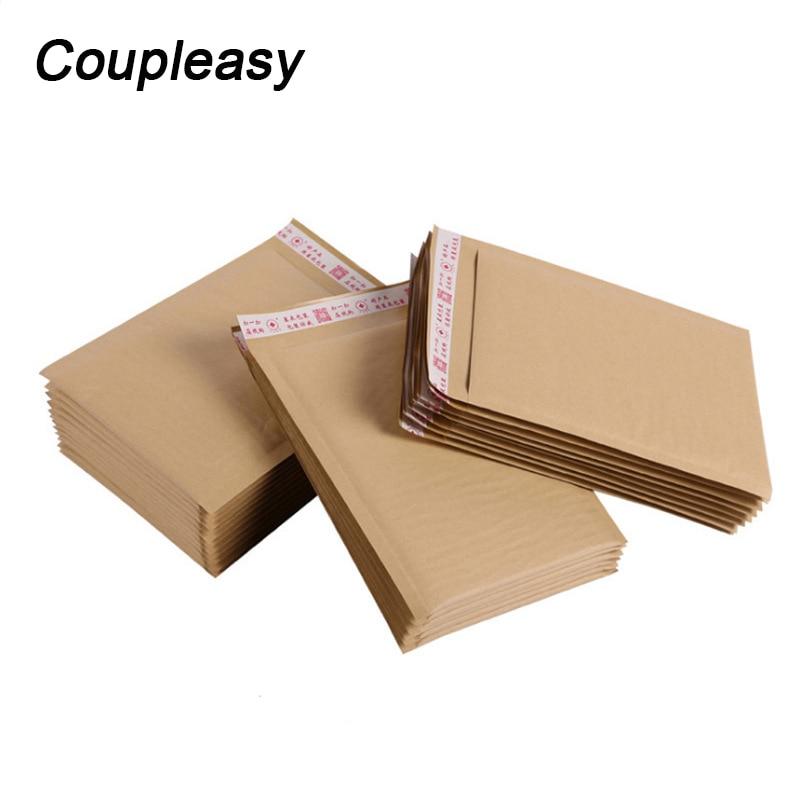 Bolsas para correo de burbujas, 50 Uds., a prueba de golpes, Color marrón, papel Kraft, sobres de burbujas, bolsas de embalaje exprés para negocios, 7 tamaños