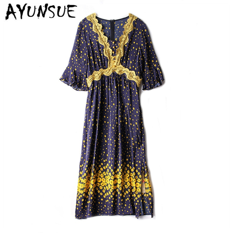 Real Silk Dress Women Summer Dress Korean Fashion Beach Dress Elegant Vintage Party Dress Vestidos Mujer F018 YY2686
