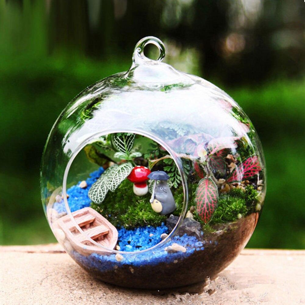 10 sztuk przezroczysty szklany wazon Globe kształt przejrzysta szklana kulka okrągłe, wiszące szklany wazon roślin Terrarium pojemnik do dekoracji domu
