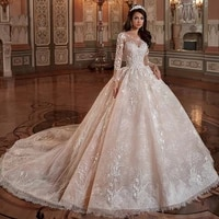luxury wedding dresses long sleeve o neck lace applique charming gowns sexy backless hand beaded court train robe de mari%c3%a9e
